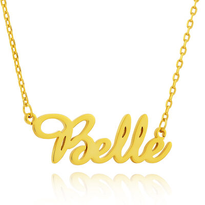 Custom 18k Gold Plated Cursive Script Name Necklace - Valentines Gifts