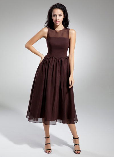 A-Line/Princess Scoop Neck Tea-Length Chiffon Bridesmaid Dress With Ruffle