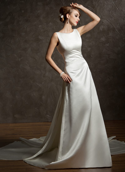 A-Line/Princess Scoop Neck Watteau Train Satin Wedding Dress With Ruffle