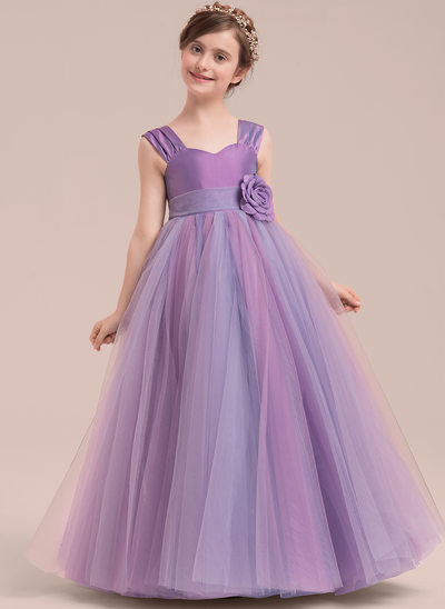 Ball Gown Floor-length Flower Girl Dress - Taffeta/Tulle Sleeveless Sweetheart With Flower(s)