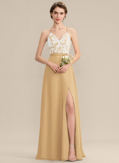 A-Line V-neck Floor-Length Chiffon Lace Bridesmaid Dress With Split Front