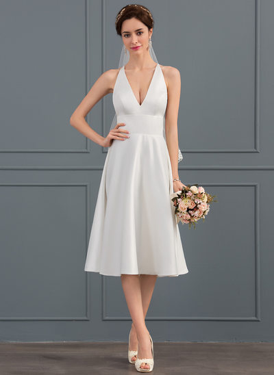 A-Line/Princess V-neck Knee-Length Satin Wedding Dress