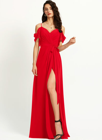 A-Line Off-the-Shoulder Floor-Length Prom Dresses With Ruffle Split Front