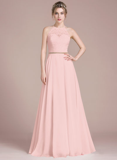 A-Line/Princess Scoop Neck Floor-Length Chiffon Lace Prom Dresses With Beading