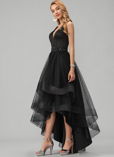 A-Line V-neck Asymmetrical Tulle Bridesmaid Dress With Beading Sequins