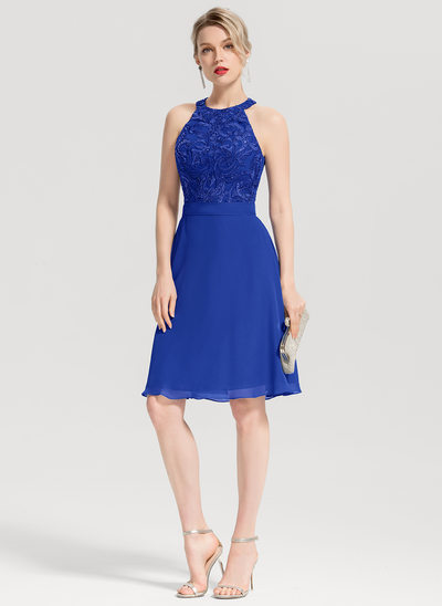 A-Line/Princess Scoop Neck Knee-Length Chiffon Cocktail Dress With Appliques Lace Sequins