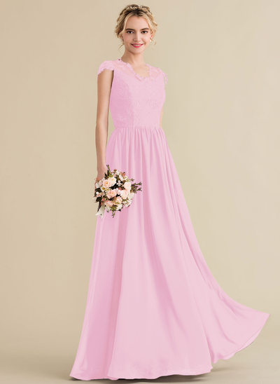 A-Line/Princess V-neck Floor-Length Chiffon Lace Bridesmaid Dress