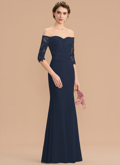 Trumpet/Mermaid Sweetheart Floor-Length Chiffon Lace Bridesmaid Dress