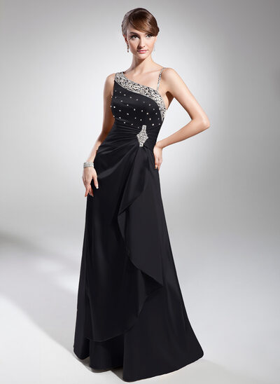 A-Line/Princess Floor-Length Charmeuse Evening Dress With Ruffle Beading Sequins