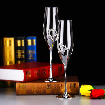 Groom Gifts - Elegant Glass Champagne Flutes (Set of 2)
