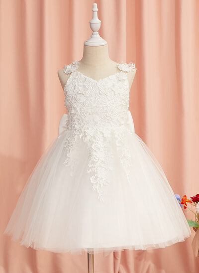 A-Line Knee-length Flower Girl Dress - Tulle Sleeveless Straps With Lace/Flower(s)/Bow(s)