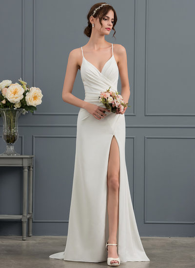 Sheath/Column V-neck Sweep Train Satin Wedding Dress With Ruffle Split Front