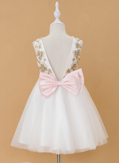 A-Line Knee-length Flower Girl Dress - Tulle Sleeveless Scoop Neck With Sequins/Bow(s)