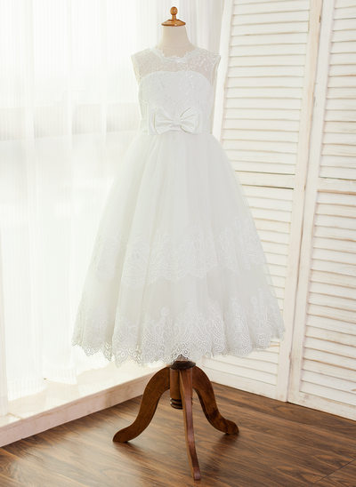 A-Line/Princess Ankle-length Flower Girl Dress - Satin/Tulle/Lace Sleeveless Scoop Neck With Bow(s)