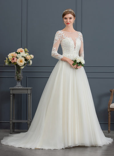 Ball-Gown Scoop Neck Court Train Tulle Wedding Dress