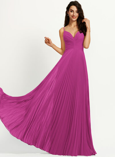 A-Line V-neck Floor-Length Prom Dresses With Pleated