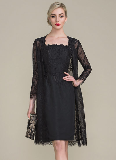 Sheath/Column Strapless Knee-Length Chiffon Lace Mother of the Bride Dress