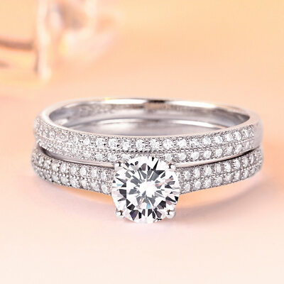 Ladies' Elegant Zircon/S925 Sliver With Round Cubic Zirconia Rings/Bridal Sets For Bride/For Friends