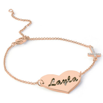 Custom 18K Rose Gold Plated Delicate Chain Bridesmaid Bracelets Name Bracelets With Heart Diamond - Christmas Gifts For Her