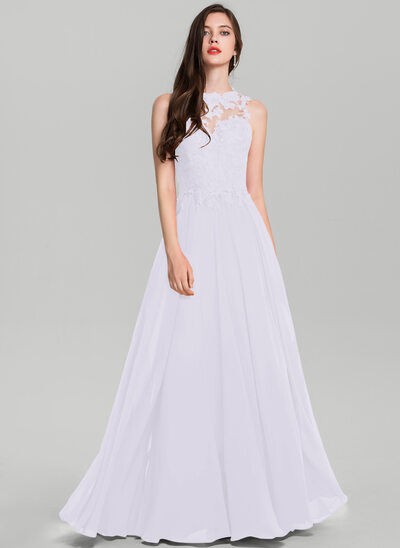A-Line/Princess Scoop Neck Floor-Length Chiffon Prom Dresses