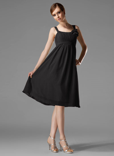 Empire Scoop Neck Knee-Length Chiffon Bridesmaid Dress With Ruffle Flower(s) Bow(s)