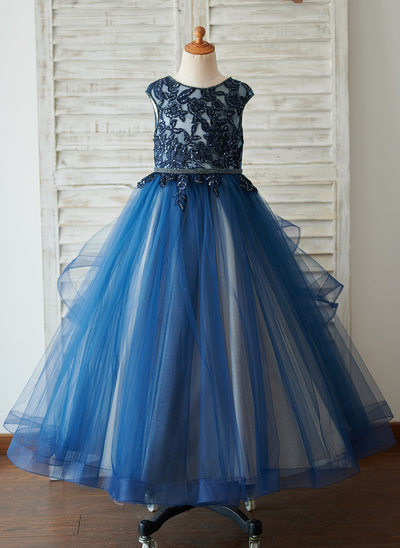 Ball-Gown/Princess Floor-length Flower Girl Dress - Satin/Tulle/Sequined Sleeveless Scoop Neck