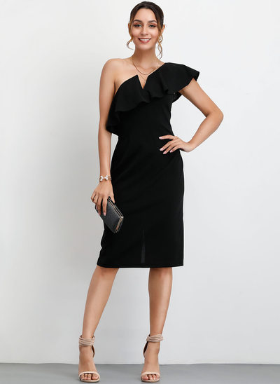 Sheath/Column One-Shoulder Knee-Length Cocktail Dress