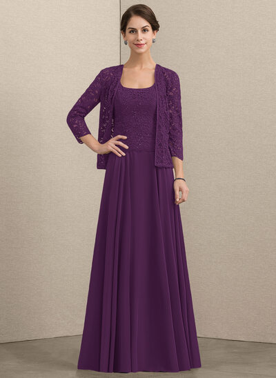 A-Line Square Neckline Floor-Length Chiffon Lace Mother of the Bride Dress With Sequins