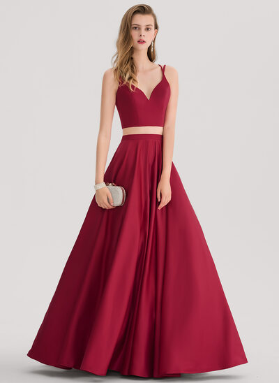 Ball-Gown Sweetheart Floor-Length Satin Prom Dress