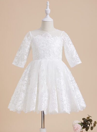 Áčkové Šaty Po kolena Flower Girl Dress - Krajka 1/2 rukávy Scoop Neck