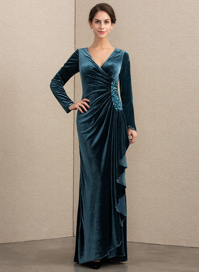 A-Line V-neck Floor-Length Velvet Evening Dress With Beading Sequins Cascading Ruffles