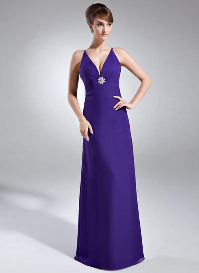 Sheath/Column V-neck Floor-Length Chiffon Holiday Dress With Ruffle Crystal Brooch