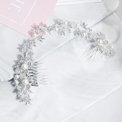 Ladies Rhinestone/Alloy/Imitation Pearls Combs & Barrettes (Sold in single piece)