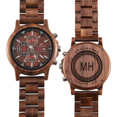 Personalized Modern Mens Custom Engraved Wood Watches