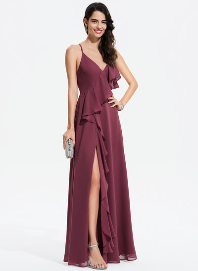 A-Line V-neck Floor-Length Chiffon Prom Dresses With Split Front Cascading Ruffles