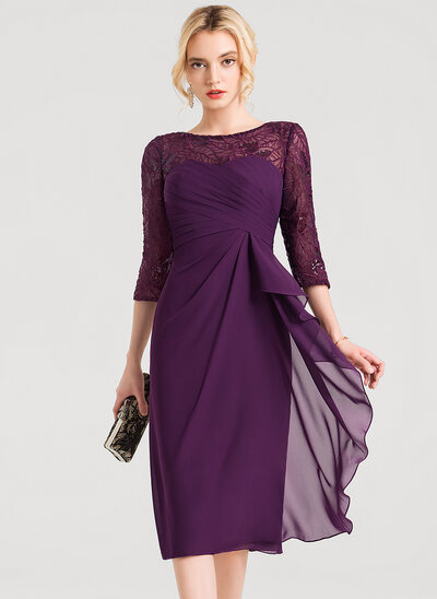 Sheath Column Scoop Neck Knee-Length Chiffon Cocktail Dress With Lace  Sequins Cascading Ruffles 82a9048a6