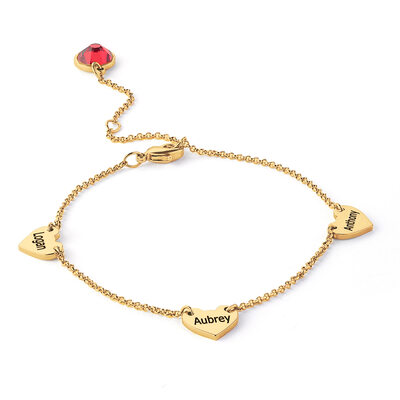 Custom 18k Gold Plated Delicate Chain Name Bracelets With Heart - Valentines Gifts For Her