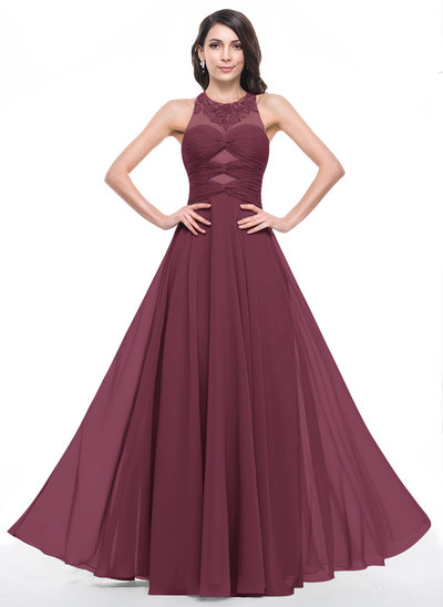 A-Line/Princess Scoop Neck Floor-Length Chiffon Prom Dresses With Ruffle Beading Appliques Lace Sequins