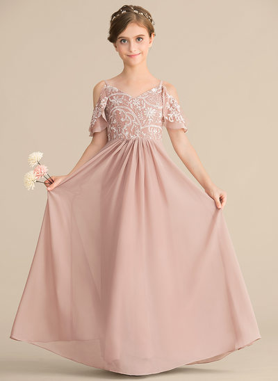01f4710d A-Line/Princess V-neck Floor-Length Chiffon Lace Junior Bridesmaid Dress