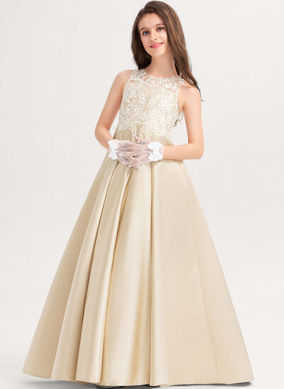 Ball-Gown/Princess Scoop Neck Floor-Length Satin Lace Junior Bridesmaid Dress