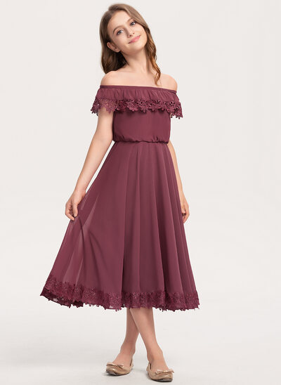 A-Line Off-the-Shoulder Tea-Length Chiffon Lace Junior Bridesmaid Dress