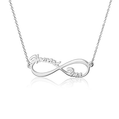 Personalized Silver Infinity Two Name Necklace