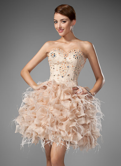 A-Line/Princess Sweetheart Short/Mini Satin Organza Homecoming Dress With Beading Feather Cascading Ruffles