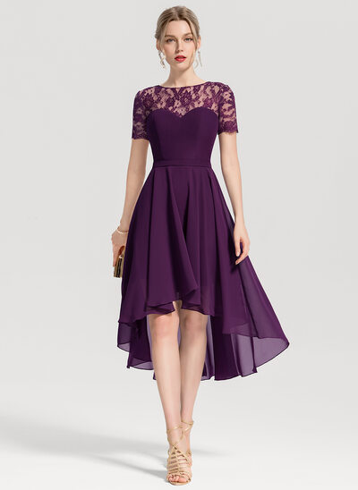 A-Line/Princess Scoop Neck Asymmetrical Chiffon Cocktail Dress