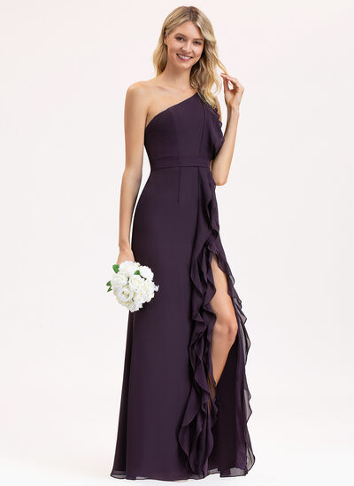 A-Line One-Shoulder Floor-Length Chiffon Bridesmaid Dress With Split Front Cascading Ruffles
