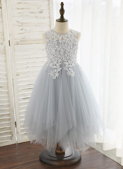 1cf56916ad87dc A-Line Tea-length Flower Girl Dress - Tulle Lace Sleeveless Scoop Neck