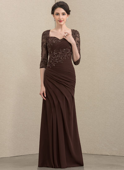 Trumpet/Mermaid Sweetheart Floor-Length Chiffon Lace Mother of the Bride Dress With Ruffle Beading Sequins