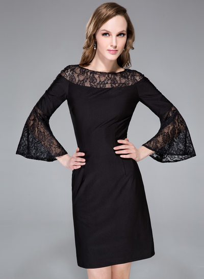 Sheath/Column Scoop Neck Knee-Length Lace Jersey Cocktail Dress