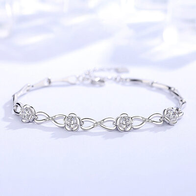 Ladies' Elegant 925 Sterling Silver With Diamond Cubic Zirconia Bracelets For Bridesmaid/For Friends