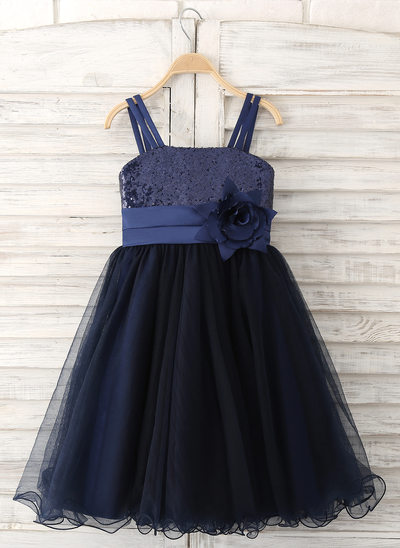 A-Line/Princess Knee-length Flower Girl Dress - Tulle/Sequined Sleeveless Straps With Flower(s)/Sequins